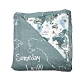 Bebe au Lait Oh So Soft Muslin Snuggle Blanket - World Map and Someday