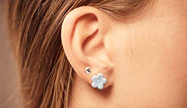 AZCOO - Silicone Earring for sensitive ears | Blue Flower Rhinestone Stud Earring with Organza Gift Bag | Handmade | Metal free Nickel free Hypoallergenic Flexible Comfortable sports Active Workout