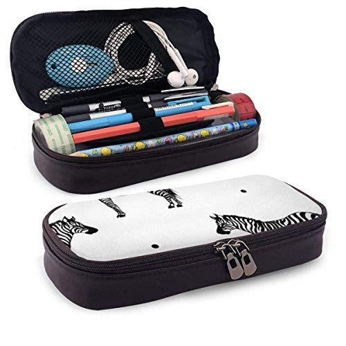 PU Leder Federmäppchen Wild Animal Zebra Print Tattoo Bleistift Bag Reißverschluss Stift Bleistift Etui Halter Tasche für Schule Arbeitsamt
