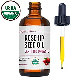 Rosehip Seed Oil by Kate Blanc. USDA Certified Organic, 100% Pure, Cold Pressed, Unrefined. Reduce Acne Scars. Essential Oil for Face, Nails, Hair, Skin. Therapeutic AAA+ Grade (4 oz)