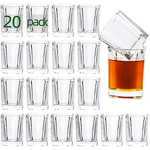 UMEIED 20-Pack Shot Glass Set with Heavy Base Bulk, 2-Ounce Clear Glasses for Whiskey and Liqueurs