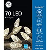 ge c5 led christmas lights - GE StayBright 70-Count 17.25-ft Constant Warm White C5 LED Plug-In Indoor/Outdoor Christmas String Lights ENERGY STAR