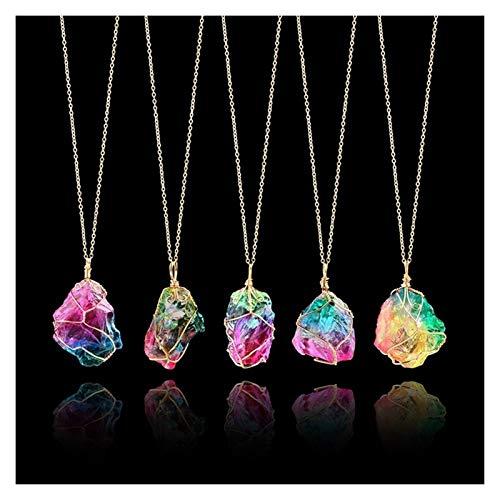 YBDZ Collar Colgante de Cristal de Cuarzo Piedra Natural Decor Craft del Arco Iris con Cadena de Metal Regalos de Boda Home Decor Color al Azar