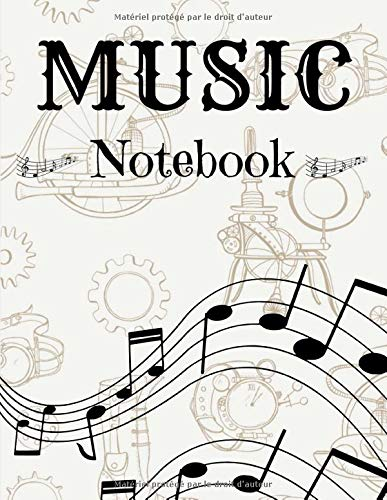 Music notebook: Sheet music book   Handwritten paper   12 litters per page   120 pages   large format   Flexible and modern cover   Steampunk notebook