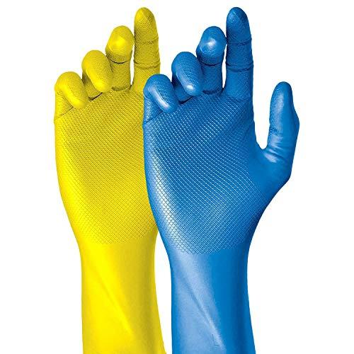 Grippaz Work-Inn Nitril-Handschuhe Gelb 30cm (50 Stück) | Größe M | latexfreie Arbeitshandschuhe extrem robust & rutschfest | ohne Puder patentierte Schuppenprägung | Einweghandschuhe + hygienisch