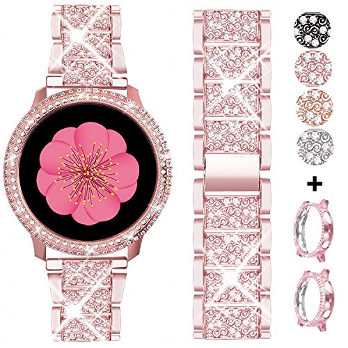 AMODOO Compatible for Samsung Galaxy Watch Active 2 Band + Case, Women Replacement Strap& Full Around PC Bumper for Galaxy Watch Active 2 40mm (Rose Pink/40mm)