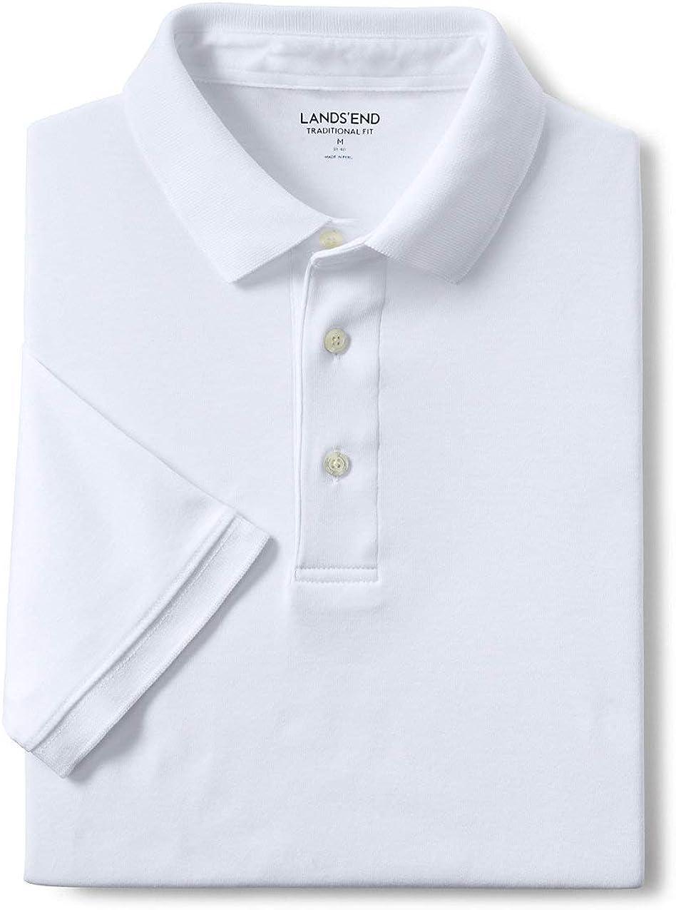 Lands End Mens Short Sleeve Banded Bottom Supima Polo Shirt