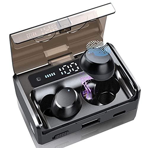 Auriculares Bluetooth 5.1, Auriculares inalambricos con HD Mic, HiFi Estéreo IP7 Impermeable Cascos Inalambricos Bluetooth con Control Táctil, 2600mAh Caja de Carga, USB-C, Cancelación de Ruido, Negro
