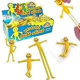 German Trendseller® - 12 x Gelbe Smile Glibber - Männchen┃ Knetmännchen ┃Dehn- und Streckbar ┃ Kinder lieben Diese Glibber Smiles!