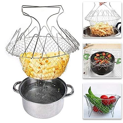 ZYCZ Multifunktions Edelstahl Küche Werkzeug Frittierkorb Sieb, Faltbarer Frittierkorb mit Griffen für Frittierte Lebensmittel, Waschen von Obst, Gemüse, Dampf, Nudel kochen - Flexibles Küchenwerkzeug