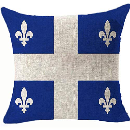 DecFure Kissenbezug, Motiv: Flagge von Quebec, doppelseitig, 45 x 45 cm, Weiß