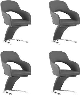 vidaXL - Juego de 4 sillas de comedor, sillas de comedor, sillas de comedor, sillas de comedor, muebles de cocina, asiento de cocina, casa, interior, color gris