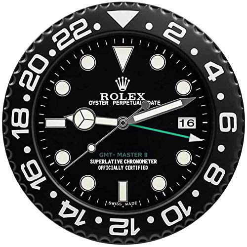 Ygccw Rolex GMT Reloj de pared réplica Rolex GMT Master II Negro Wallclock
