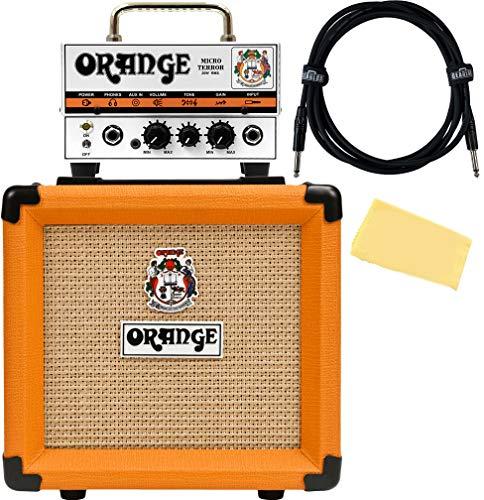 Orange PPC108 1x8-Inch Closed-Back Speaker Cabinet Bundle with Orange MT20 Micro Terror Amp Head, Instrument Cable, and Austin Bazaar Polishing Cloth