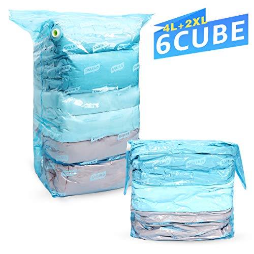 Hi Storage TAILI Cube Vakuum Aufbewahrungsbeutel 6 TLG Set (2 Stück 80 x100 x38 cm & 4 Stück 56 x80x30 cm) 1 Cubebeutel=3 Normale Vakuumbeutel, Ideal für Heimtextilien Steppdecken Kissen Bettdecken