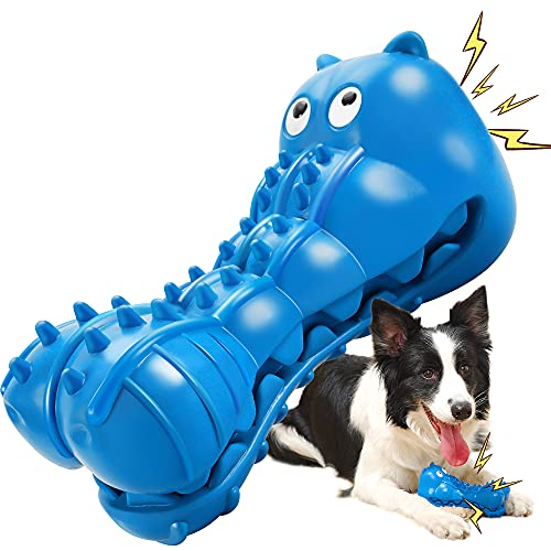 Rmolitty Squeaky Dog Toys for Aggressive Chewers, Tough Dog Chew Toys for Aggressive Chewers Indestructible Durable Dog Chew Toys for Large Medium Breed Dog with Non-Toxic Natural Rubber (Hippo-Blue)