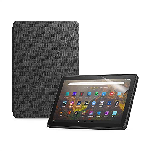 Das neue Fire HD 10-Tablet (32 GB, schwarz, mit Werbung) + Amazon-Hülle mit Standfunktion (schwarz) + NuPro-Bildschirmschutzfolie (2er-Pack)