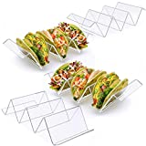 Acrylic taco holder stands includes a set of 4 and holds up to 3 or 2 tacos each. It is made from crystal clear acrylic material which is safer and stronger than glass. 100% food grade, BPA free, safe and sturdy. Curved triangle design to protect the...