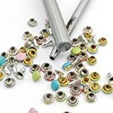 100pcs 4mm Tiny Rivets with Punching Tool, Setters for Leather Work Tubular Metal Small Studs Setting Tool Kit for Leather Craft Decoration 5 Color Mixed