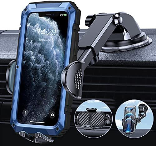 TORRAS Cell Phone Holder for Car [Thick Case & Heavy Phone Friendly] 3 in 1 Car Phone Holder Mount Dashboard Air Vent Windshield Compatible with iPhone 12 11 Pro Max Samsung Galaxy Note S21 Ultra
