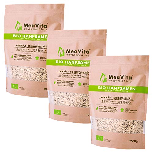 Meavita Semillas De Cáñamo Orgánico Meavita, Peladas, Paquete De 3 (3 X 1 Kg) 3000 g