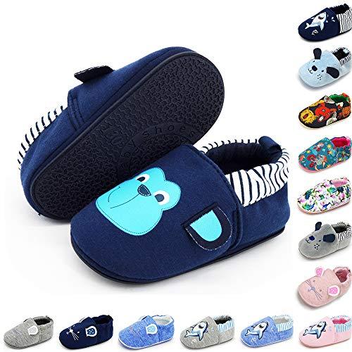 E-FAK Baby Boys Girls Shoes Non Slip Slipper Sneaker Soft Sole Moccasins Newborn Infant Toddler Cartoon First Walker Crib House Shoes (01 Monkey Navy, 9_Months)
