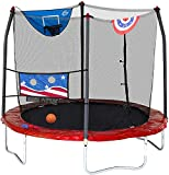 Skywalker Trampolines 8-Foot Jump N' Dunk Trampoline with Safety Enclosure and Basketball Hoop, Stars & Stripes