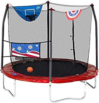Skywalker Trampolines 8-Foot Jump N' Dunk Trampoline with Safety Enclosure and Basketball Hoop Stars & Stripes