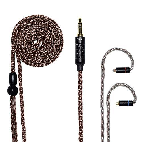 MMCX KopfhörerKabel, TONWON Upgrade Versilbertes Kopfhörer Kabel mit 3,5mm Stecker, Exchange Audioanschluss für UE900 SE215 SE315 SE846 SE535 SE425 TIN Audio T2