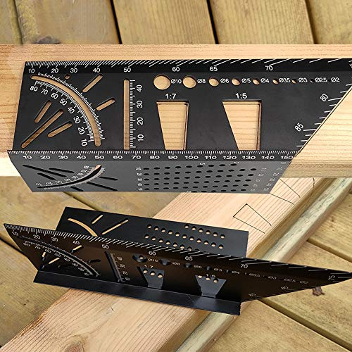 Aluminum Alloy Woodworking Square Size Measure Ruler - 3D Mitre Angle Measuring Template Tool - Carpenter's Layout Ruler Gauge Woodworking Accessories - Gifts for Men Dad Father Husband