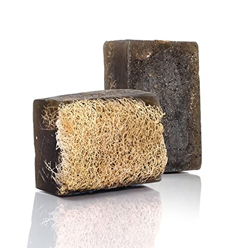 SABUN CO. Activated Charcoal Soap - Natural Exfoliating Loofah Soap - Handmade, Vegan, Moisturizing, Black Luffa Soap | Face & Body Scrub Bar [4.40 oz - 125 gr]
