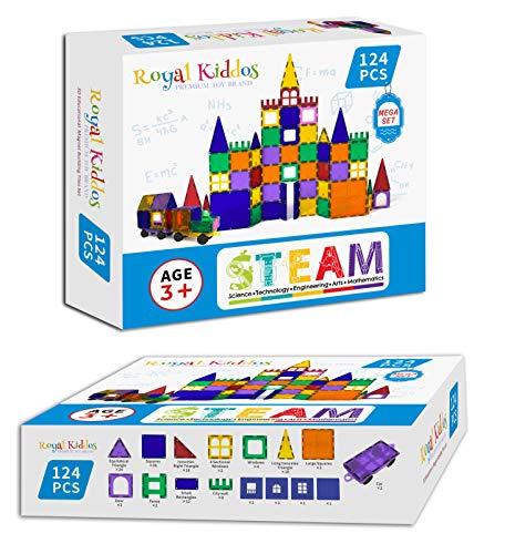 Royal Kiddos - 124 PCS with 2 Cars - Magnetic Building Blocks Toys for Kids - Magnetic Tiles Building Set for Toddlers - Magnet Toys for Children