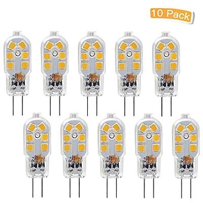 LXcom G4 LED Bulb Bi-Pin Base 10Watt Halogen Bulb Equivalent AC12 Volt T3 JC Type Transparent Led Lamp Warm White 3000k,10 Pack