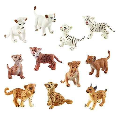 Toymany 11 Safari Animal Figurines  High Emulational Detailed Baby Plastic Zoo Animals  Lions Tigers Cheetahs Lynx Figure Toy Set  Easter Eggs Cake Toppers Christmas Birthday Gift for Kids Toddlers