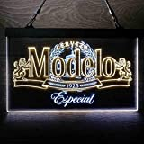 zusme Modelo Especial 1925 Colorful LED Neon Sign Man Cave Light White & Yellow W16 x H12