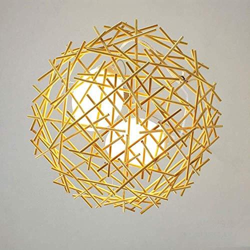 DXX-HR Creativo Arte de Bambú Caña Arte de Bambú Pequeñas Linternas Chinas Rurales Lámparas Comedor Sala de Estar Retro Bambú Pájaros Huevos La Fuente de Luz D45Cm Decoración