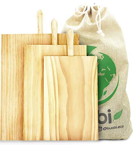 Buabi Conjunto 3 Tablas de Cortar Cocina con Mango. Tabla de Madera para Picar, tamaño Grande Mediana y pequeña, Muy Gruesa (2,3cm). con práctica Bolsa de Lino de Regalo