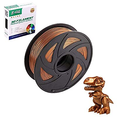 E-DA PLA 3D Printer Filament, PLA Filament 1.75mm 1KG, With High Strength and Better Toughness, 3D Printing Filament for 3D Printers, Dimensional Accuracy +/- 0.03mm, (Silk Copper)
