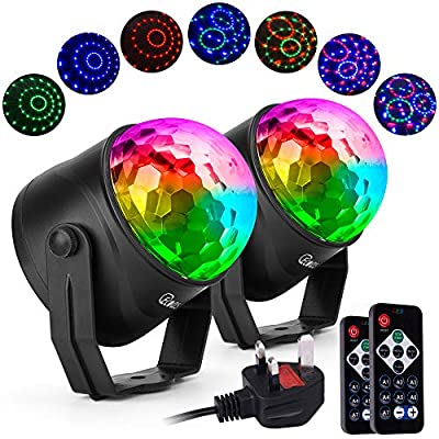 Party Disco Lights Strobe Led Rotating DJ Ball, Ecoastal Sound Activated LED RGB Disco Ball Rave Dance Lamp for Kids Birthday, Family Gathering, Christmas Party (2-Pack)