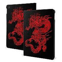 CSHQ ドラゴン赤 タブレット ケース iPad 7th /iPad Air3/ iPad Air pro 対応用ハードカバー 三つ折りスタンド スマートケース 10.2/10.5 インチ 適用 軽量 傷防止 全面保護型 オートスリープ/ウェイク PU レザーカバー ,