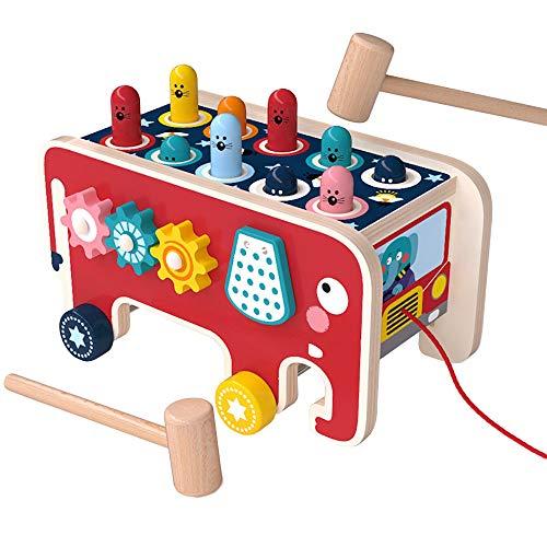 Arkmiido Trähammarleksaker med 2 klubbor, pinnformad bänk, elefant hit hamsterspel och pedagogisk träleksak present för baby spädbarn