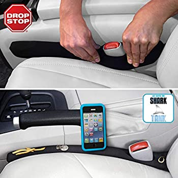 Drop Stop - The Original Patented Car Seat Gap Filler  AS SEEN ON Shark Tank  - Set of 2 and Slide Free Pad and Light