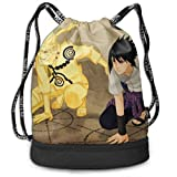 Anime Naruto Drawstring Bag for Women Men Chic Beam Backpack Sackpack with Shoe Compartment Soccer Basketball Cinch Bag for Hiking Yoga Beach Travel School Swimming