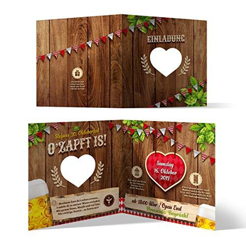 Lasergeschnittene Einladungskarten (20 Stück) Oktoberfest Geburtstag Bayern - O'zapft is! in Rot