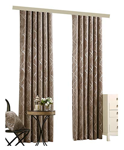Modern Simple Line Pattern Jacquard Window Curtain Rod Pocket Panel Draperies Treatment Suitable for Living Room Dining Room and Bedroom-003(1 Panel, W 52 x L 104 inch, Brown)