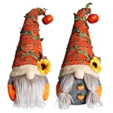 2 Piezas De Decoración De Gnomos De Otoño, Mr & Mrs Autumn Harvest Gnomes Decoración De Bandeja Con Gradas De Granja, Elfo Escandinavo Enano Anciano, Facelss Sueco Tomte Hecho a Mano