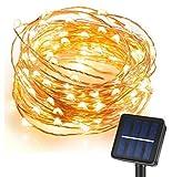 CMYK 10M 120er LED Solar Garten Lichterkette Außen Warmweiß für Party, Weihnachten, Outdoor, Fest Deko usw.
