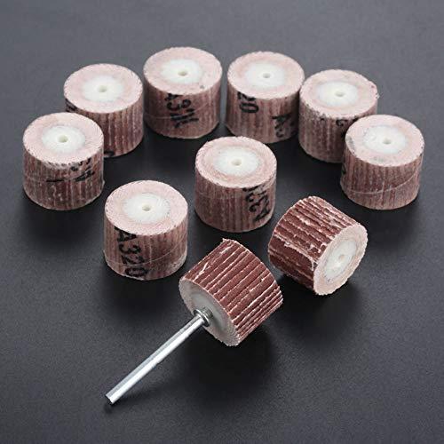 GFHDGTH 10-delige Dremel-accessoires 20 mm slijp Sanindg-klepwielborstels, voor roterende mini-boorpolijstool met doorn 3 mm schacht, 80