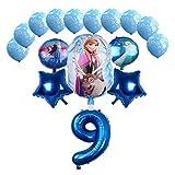 Yanqhua Globo 16pcs Princess Elsa Foil Globo Set Baby Shower Party Girls Favorito Dibujos Animados Aluminio Foil Cumpleaños Globos (Color : 9)