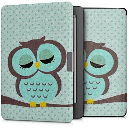 kwmobile Carcasa Compatible con Kobo Aura Edition 2 - Funda para Libro electrónico con Solapa - búho dormilón